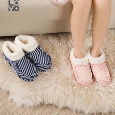 LOVO家紡秋冬保暖防滑拖加厚包跟鞋底柔軟舒適面料針織條紋包跟拖