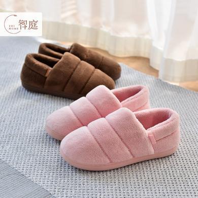 智庭包跟?#20262;有?#22899;冬季保暖厚底防滑柔软舒适珊瑚绒男士防水棉拖鞋