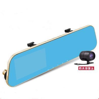路探 后視鏡行車記錄儀前后雙錄倒車后視藍鏡防弦4.3寸屏停車監控
