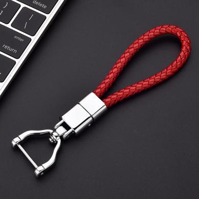 親藍 鑰匙扣掛件高檔創意男女鑰匙扣金屬車鑰匙扣手工編織繩鑰匙扣