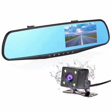 路探 行車記錄儀后視鏡雙鏡頭4.3寸高清1080P廣角夜視倒車停車監控