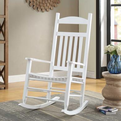 雅客集躺椅靠椅懒人椅太师椅 白色休闲椅子逍遥椅美式实木摇椅 WN-16060WH