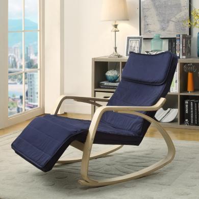 雅客集实木躺椅靠椅懒人椅单人沙发休闲椅摩恩曲木摇椅FB-16029BU