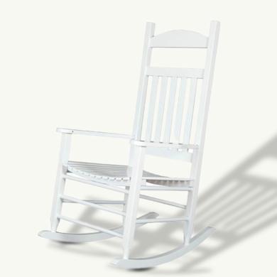 雅客集家用逍遙椅戶外休閑椅子美式白色實木搖椅 WN-16060WH