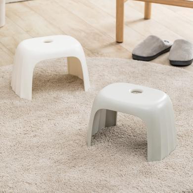 佐敦朱迪Jordan&Judy環保材質塑膠凳 客廳家用簡約加厚塑料板凳防滑矮凳兒童成人小板凳 淺灰色