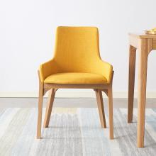 優家工匠 北歐實木餐椅簡約橡木家用布藝靠背椅子書桌椅休閑椅電腦椅