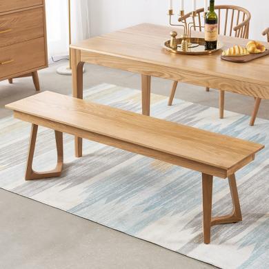 優家工匠實木家具北歐全實木餐廳餐桌長條凳原木白橡木床邊長凳子換鞋凳床尾凳
