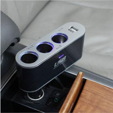 卡饰得 一分三点烟器 带3个USB 3.1A电流 双核一拖三汽车充电器 12V-24V