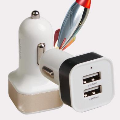 卡飾得 雙USB充電器 3.1A金屬環車載充電器 鋁合金車載點煙器 方形