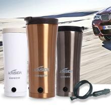 卡飾得 不銹鋼加熱杯 車載帶溫控保溫杯 車載電熱水杯 三層杯體燒水壺 420ml