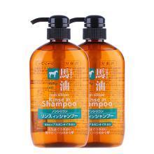 2瓶*熊野油脂(KUMANO COSMETICS) 馬油洗發水 日本 無硅二合一洗發露 600ml