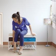 雅客集白色换鞋凳 田园风沙发凳鞋架组合WN-13228