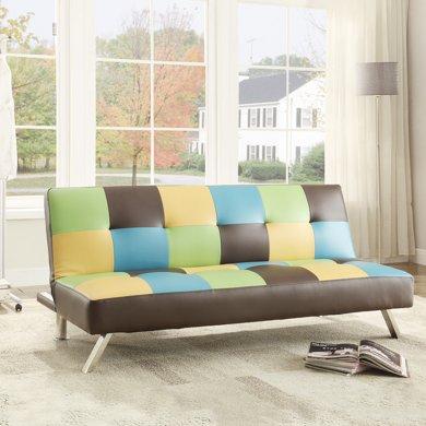 雅客集小戶型時尚辦公室書房客廳皮質沙發三擋可調愛爾瑪英倫沙發床FB-15008