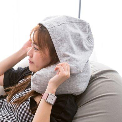 寶緹針織帶帽U型枕頭旅行便攜護頸枕辦公室學生午睡靠枕