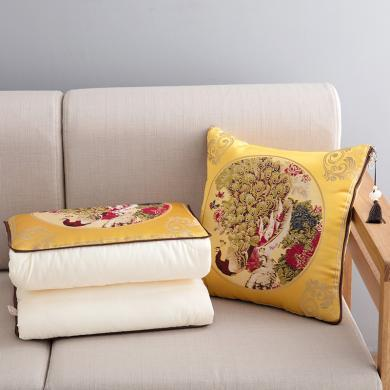 VIPLIFE歐式繡花綢緞抱枕被 腰靠 午睡枕 坐墊四季被子