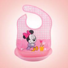 迪士尼F02婴儿饭兜硅胶宝宝吃饭围兜儿童喂食围嘴防口水