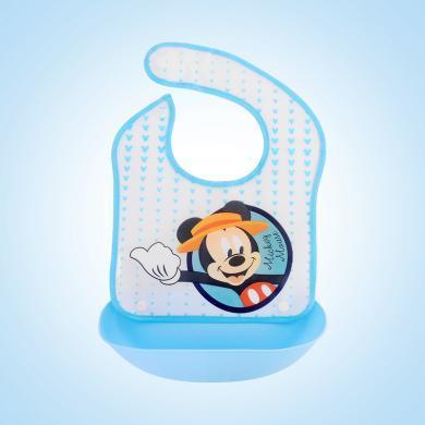 美國Disney迪士尼F02嬰兒飯兜硅膠寶寶吃飯圍兜兒童喂食圍嘴防口水