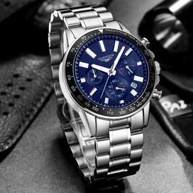 冠琴2020新款手表男鋼帶時尚潮流運動防水多功能夜光男士手表
