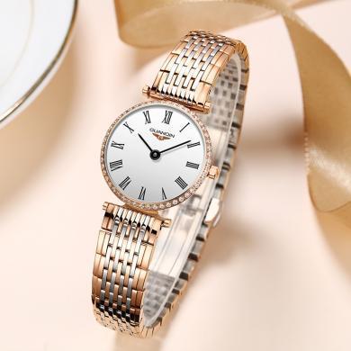 冠琴品牌手表女ins風小表盤超薄氣質簡約防水鋼帶女士手表石英表