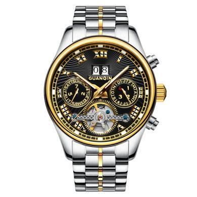 冠琴手表 2020新款全自動機械表鏤空防水夜光鋼帶時尚潮流男士手表