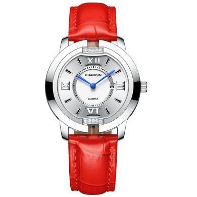 新款冠琴手表女超薄简约石英表学生皮带防水时尚潮流韩版女士手表