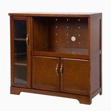 雅客集艾维斯美式实木收纳柜WN-16080WA 玻璃门移动抽板餐边柜 家用大容量小酒柜茶水柜