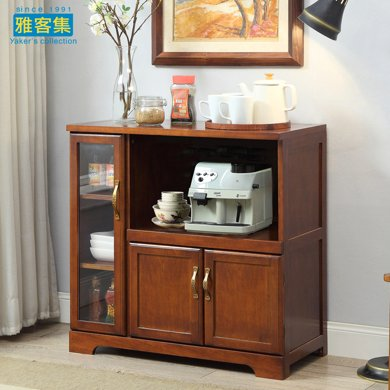 雅客集艾維斯美式實木收納柜WN-16080WA 餐邊柜 櫥柜 酒柜 茶水柜 微波爐柜