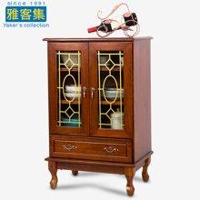 雅客集奥布里两门一抽储物柜WN-17051WA 实木餐边柜 小碗柜 家用玻璃印花酒柜茶水柜