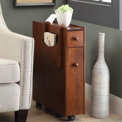 雅客集 沙发扶手柜胡桃色美式实木带抽储物柜WN-14251WA 浴室收纳柜 缝隙柜