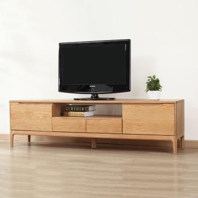 HJMM北歐電視柜全實木地柜 橡木簡約現代大小戶型客廳家具地柜