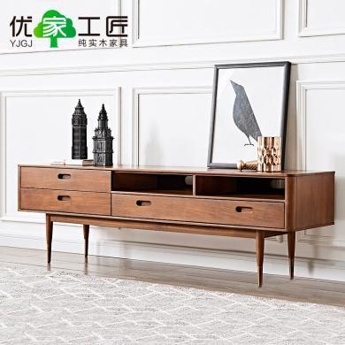 優家工匠全實木電視柜北歐現代奢華客廳收納地柜原木電視墻茶幾組合