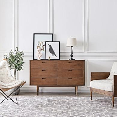 优家工匠 实木六斗柜北欧现代奢华卧室客厅置物柜子餐厅收纳橱柜斗橱