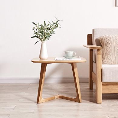 優家工匠 原木色邊幾純實木方幾白橡木角幾帶隔板實用北歐簡約 600*470*430