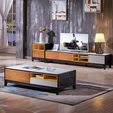 HJMM北欧地柜现代简约电视柜钢化玻璃茶几双拼色茶桌1022