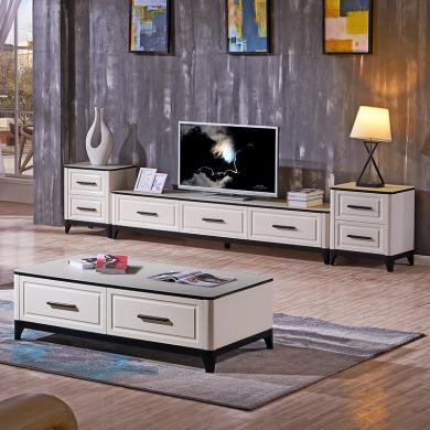 HJMM北歐現代簡約電視柜地柜白色茶幾鋼化玻璃019
