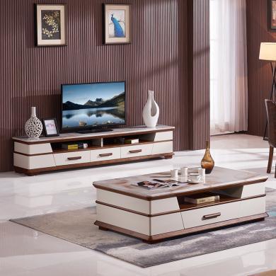 HJMM現代簡約電視柜大理石茶幾地柜實木茶桌003大小戶型