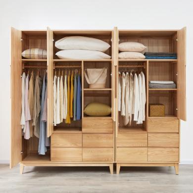 優家工匠北歐全實木衣柜臥室收納抽屜式經濟型組裝衣櫥白橡木衣柜