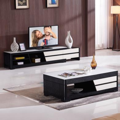 HJMM北欧现代简约电视柜地柜钢化玻璃茶几拉伸茶桌黑白032