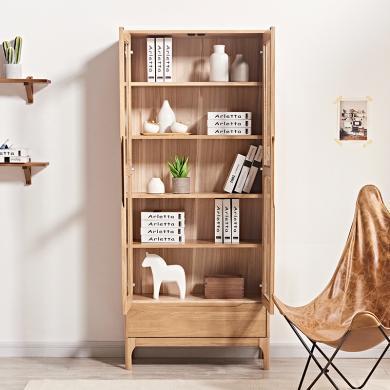 優家工匠實木書柜雙門玻璃門書櫥北歐簡約書架組合收納儲物柜書房家具