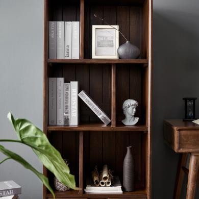 優家工匠實木家具北歐現代簡約實木書架落地多層成人書櫥置物架展示架書房家具