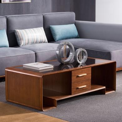 HJMM輕奢實木電視柜新中式大小戶型胡桃木茶幾現代簡約北歐客廳茶桌