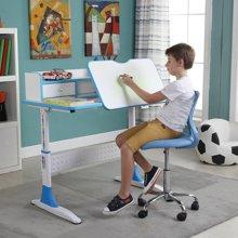 雅客集学习桌智慧之星带抽书架儿童成长书桌(蓝色) 桌椅套装PA-15033BU