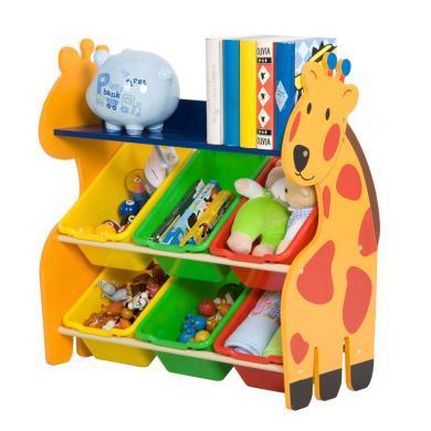 雅客集木質卡通玩具架長頸鹿兒童玩具收納架WN-15001