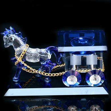 卡飾得 水晶汽車香水座 馬拉車精品內飾 K9水晶擺件 馬車香水瓶 大號