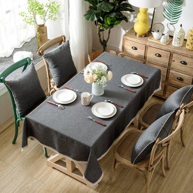 芒更家紡 北歐素雅格調純色系列 竹節麻桌布-黑灰時尚
