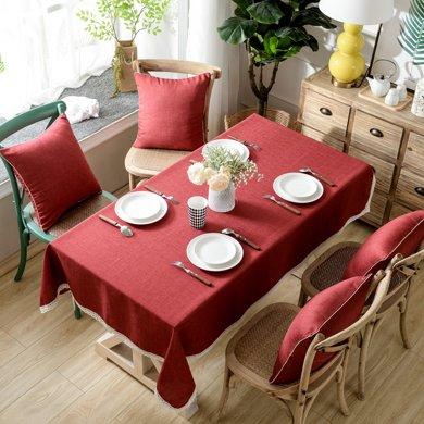 芒更家紡 北歐素雅格調純色系列 竹節麻桌布-酒紅