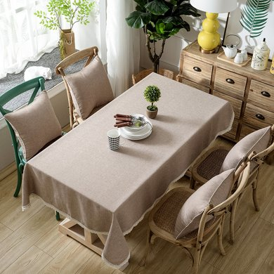 芒更家紡 北歐素雅格調純色系列 竹節麻桌布-牛奶咖啡