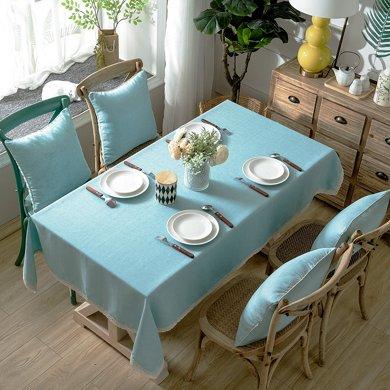 芒更家紡 北歐素雅格調純色系列 竹節麻桌布-藍韻簡愛