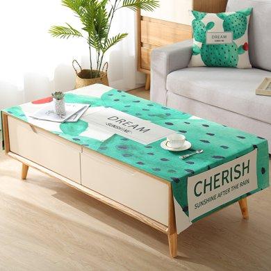 北歐ins棉麻茶幾蓋布現代簡約長方形客廳茶幾墊桌布布藝臺布套罩