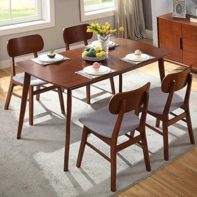 馬來西亞進口 雅客集北歐風麥爾斯橡膠木餐桌椅(一桌四椅)套裝WN-18030WA